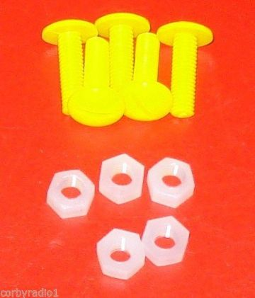 TAXI ROOF SIGN YELLOW PLASTIC SCREWS & WHITE NYLON NUTS 10 mm long PACKET OF 5